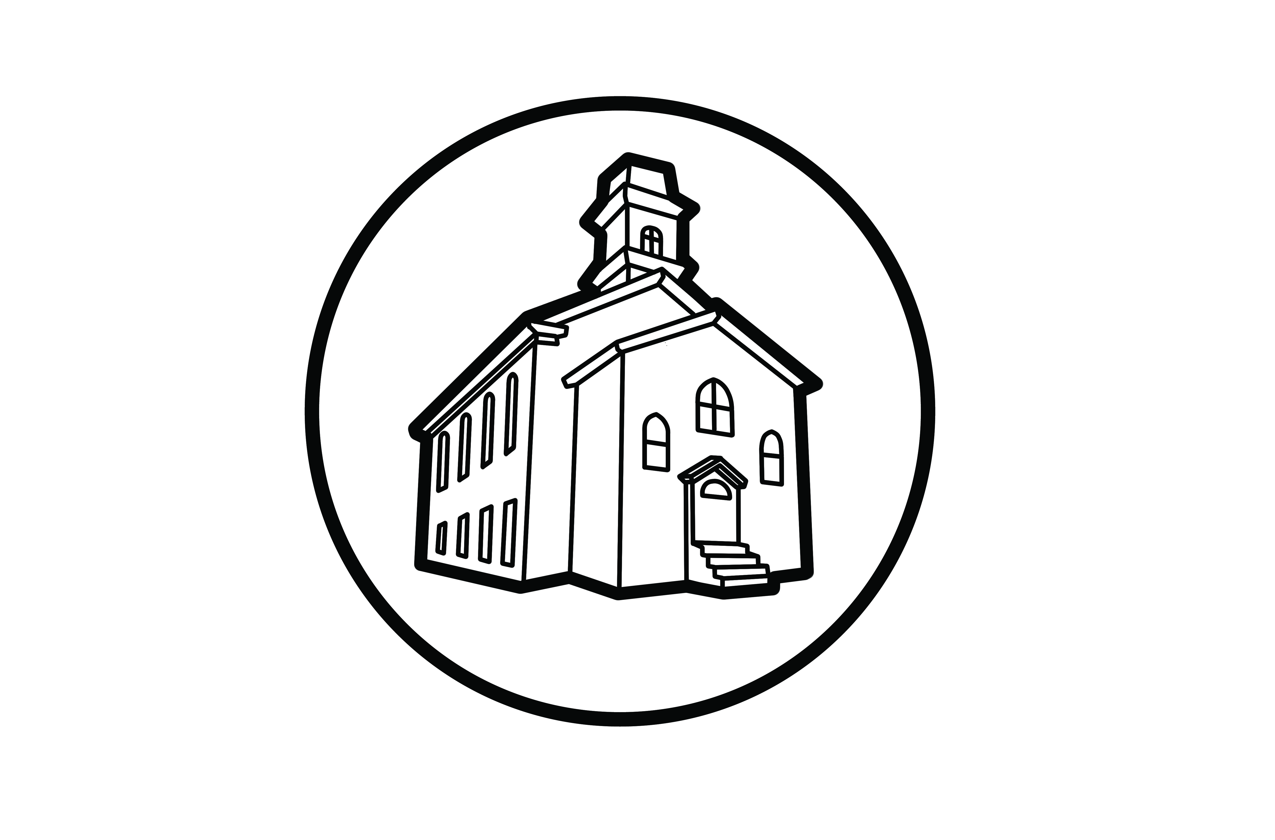 Round logo for The Computer Church -- a collection of rare computers and vintage documents that catalog the history of computing